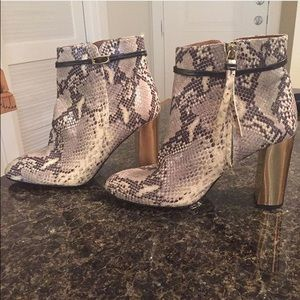 TopShop Snakeskin and gold booties NWT